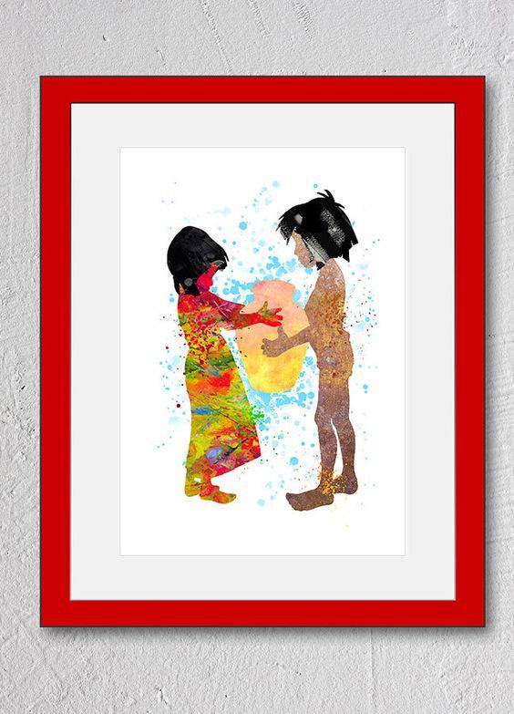 mowgli amp shanti jungle book watercolor disney print art