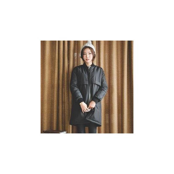Padded Long Flight Jacket (€83) ❤ liked on Polyvore featuring outerwear, jackets, women, long flight jacket, fleece lined jacket, brown bomber jacket, fleece lined bomber jacket and bomber style jacket