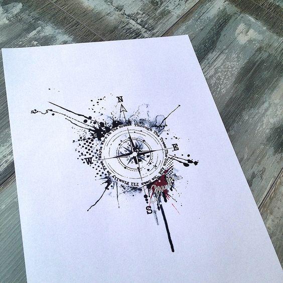 Abstract trash polka compass