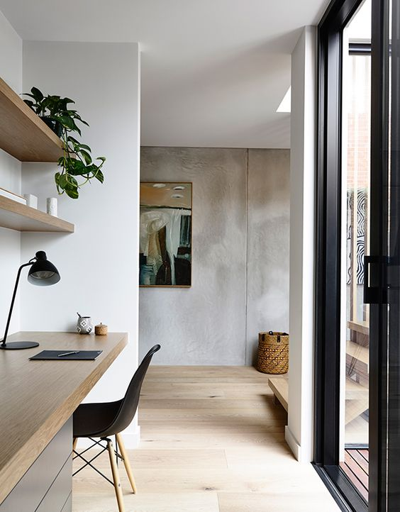Study desk a slab of wood with either timber draws below or a contrasting finish like this (as floor will be timber too)