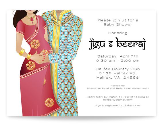 Indian Baby Shower Invitation  Indian Couple Baby Shower