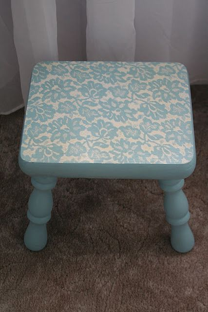 Just base coat of Anne Sloan Chalk paint then white spray painted over lace...amazing!:
