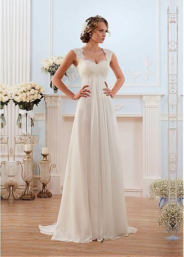 Glamorous Chiffon Sweetheart Neckline Empire Waistline Sheath Wedding Dress With Beaded Lace Appliques