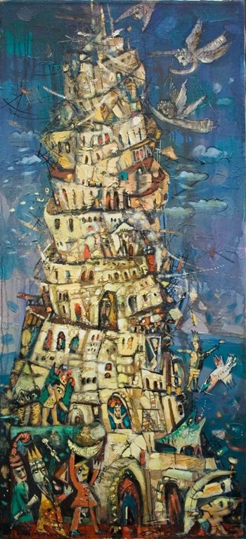 Painting for sale 'The Babel tower'  painting art sale expressionism fantastic art paintings