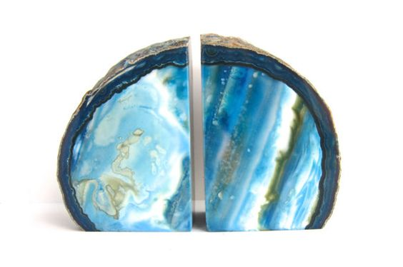 Agate Bookends  Medium blue and white agate by WingedWorld on Etsy