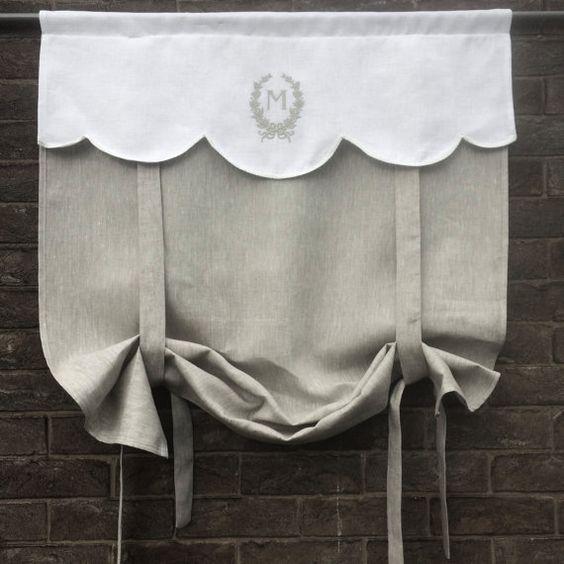 Gray Linen Window Curtain Monogram Roll Up Shade Bathroom