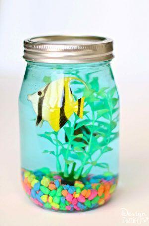 Mason Jar Aquarium Craft for kids! Fun Summer time craft!