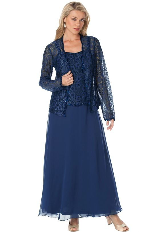 Roaman S 174 Beaded Lace Jacket Dress Plus Size Evening
