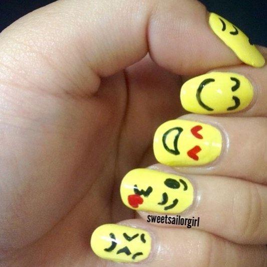22 Easy Emoji Nail Art Designs For Back To School 2018 Emoji Nail Nailart Nails Mycuteoutfits Emoji Nails Nail Art Nail Art Designs