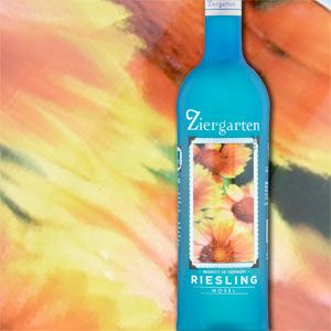 """In Germany, beautiful flower gardens dot the rolling landscape between vineyards in the Mosel region. These gardens, known as """"Ziergartens"""" in Germany, are the inspiration for Ziergarten Riesling. Sourced from the Mosel region, this wine offers grapefruit and lime aromas with a hint of mineral on the nose. Image is on inside of bottle and shows through like an aquarium front label window."""