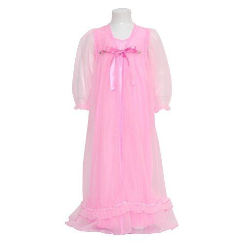 Laura Dare Girls 4T Pink Floral Peignoir 2pc Robe Nightgown. Cute 2pc Set. Robe and Nightgown.