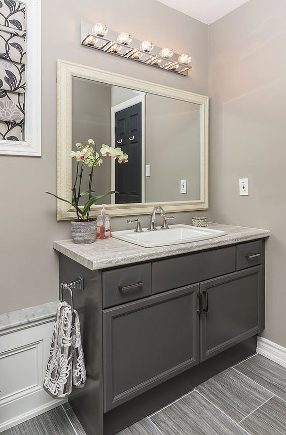 Refaced benjamin moore kendall charcoal grey vanity for Charcoal bathroom accessories