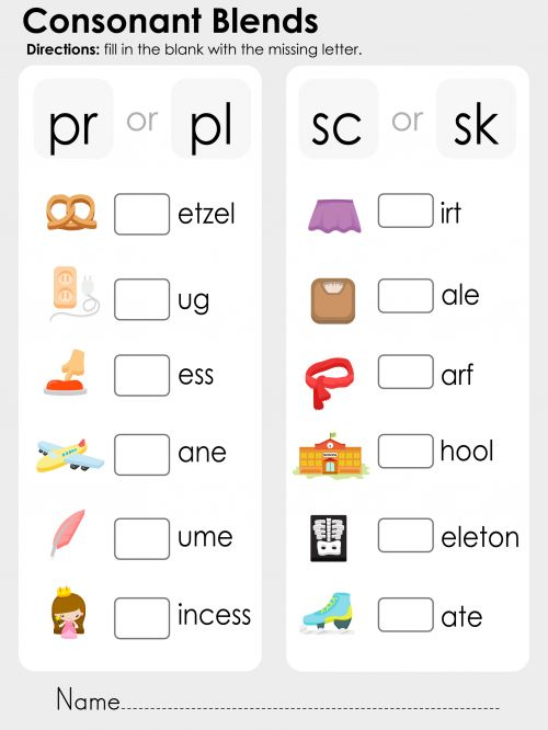 Consonant Blends - pr, pl, sc, sk : Read more, Children and The words