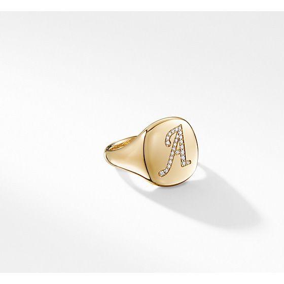 David Yurman Davidyurman Dy Initial Pinky Ring With Diamonds In 18k Gold Diamond 18k Gold Gold