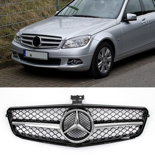 Gloss Black Chrome Grille For Benz W204 C Class C300 C350 Abs 2008