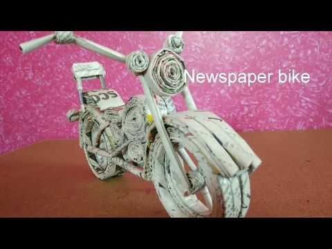 News Paper Bike Paper Craft Best Out Of Waste Youtube