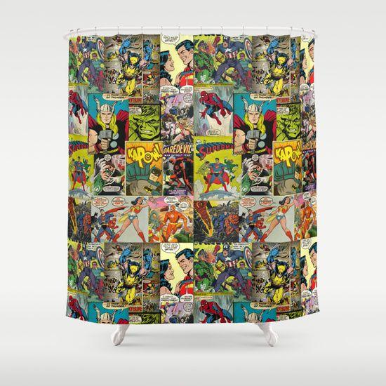 Curtains Ideas comic shower curtain : COMIC Shower Curtain | Products, Curtains and Shower curtains