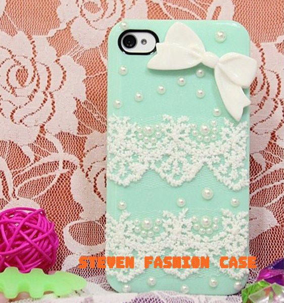 Mint Green Pearl lace bows iphone 4 case iphone 4s case iphone 5 case lace iphone case. $17.00, via Etsy.
