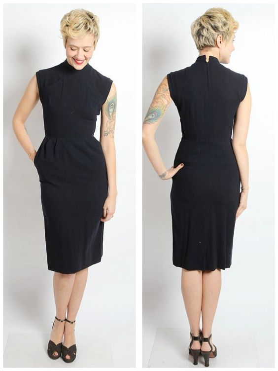 robe des ann es 1940 robe de marlena gaine laine vintage 40 s old fashion style. Black Bedroom Furniture Sets. Home Design Ideas