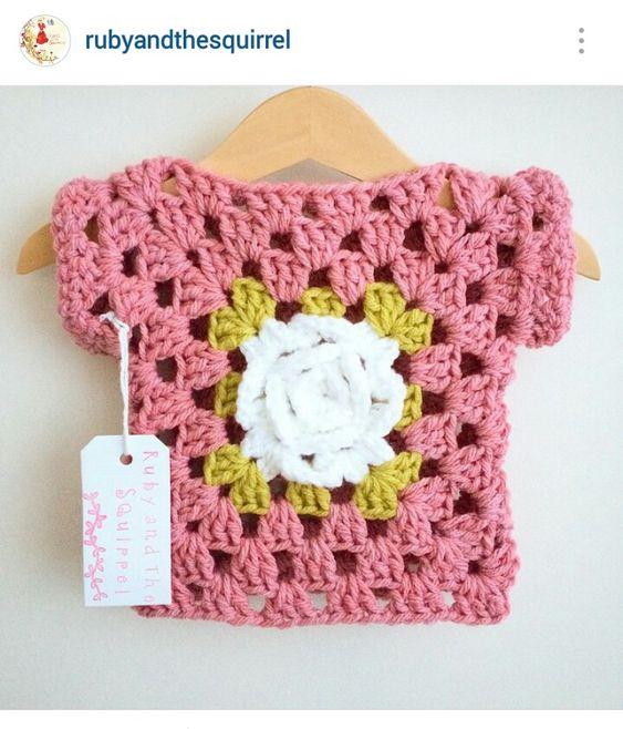 Instagram @rubyandthesquirrel - crochet baby girl rose granny stitch motif top