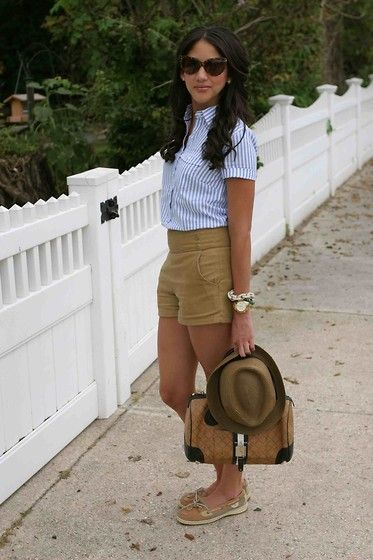 J. Crew Popover Shirt, Sperry Top Sider Angelfish Boat Shoes, J. Crew Boys' Solid Band Trilby Hat, Asos Cat Eye Sunglasses, Bauble Bar Rose Pave Links Bracelet