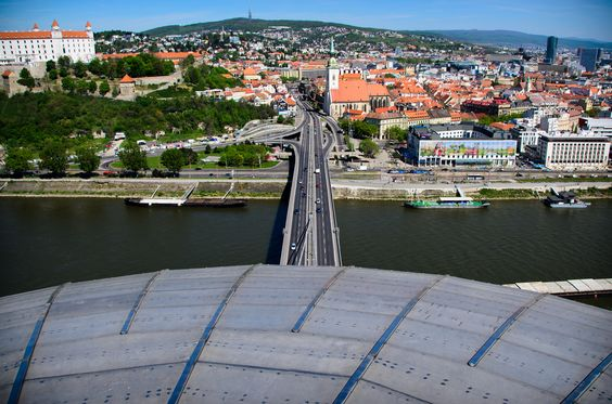 The Slovak National Uprising Bridge in Bratislava. Slovakia.  View from the restaurant UFO