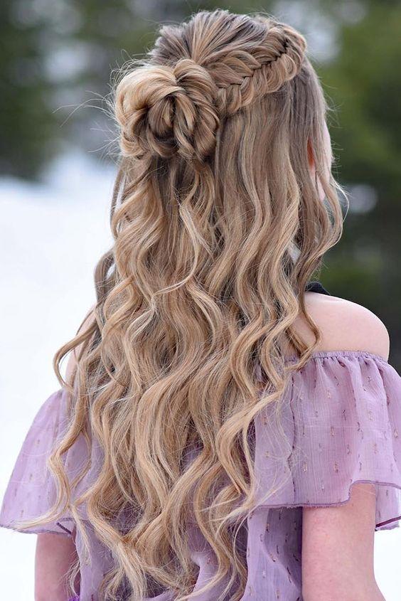 wedding hairstyles half up half down with curls and braid mermaid and bun braidsbyjordan via instagram