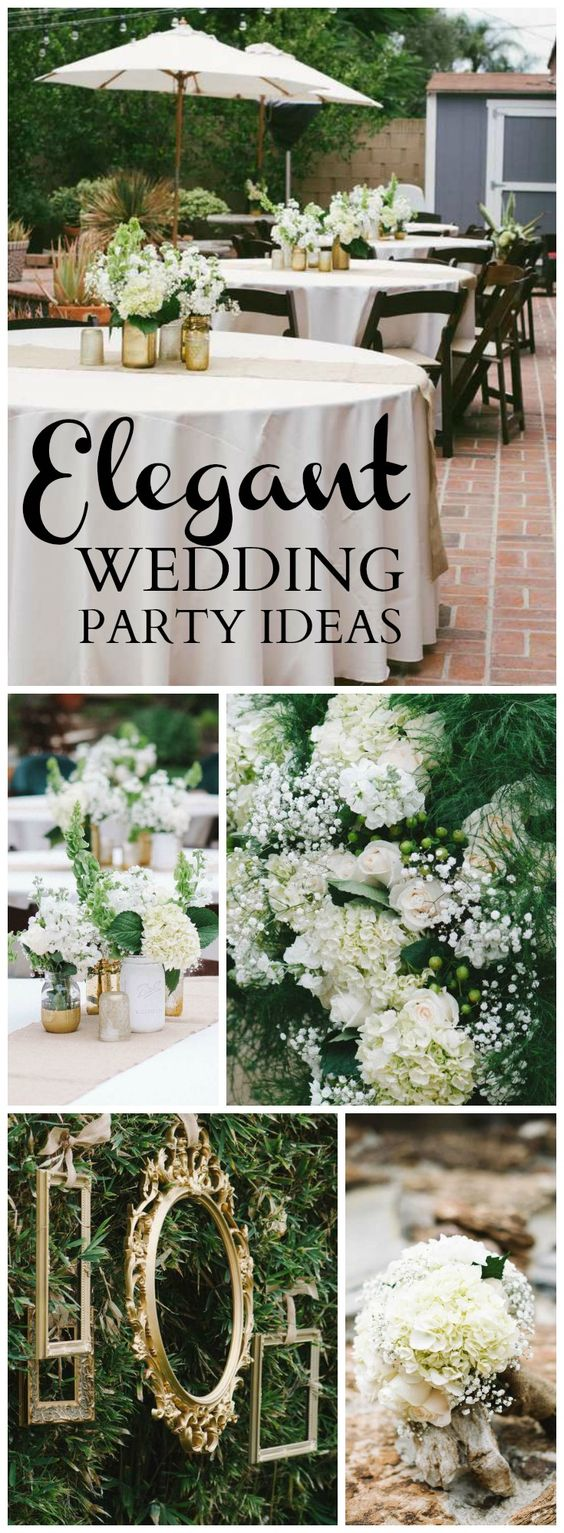 rustic backyard wedding in white green and gold see more party ideas