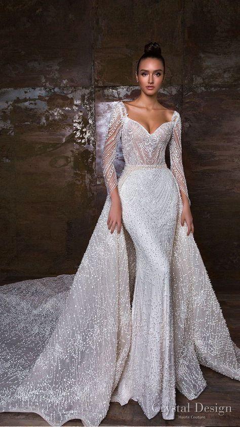 кристал дизайн 2018 дълъг ръкав сладко деколте пълен разкрасяване бляскава облицовка сватбена рокля линия линия висулка кралски влак (penelopa) mv - Crystal Design 2018 Сватбени рокли