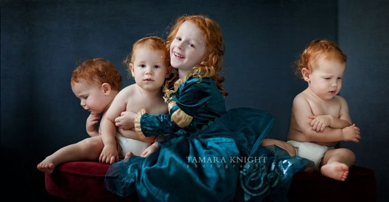 fairytale photography, fable shoot, storybook photo shoot, Brave, triplets, brothers, Brave brothers, princess Merida by Tamara Knight Photography based in Orlando