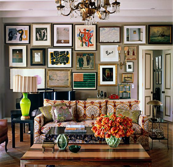 Kristen Buckingham Interior Design: Eclectic living room! Taupe walls, art gallery wall in mixture of frames and styles. ...