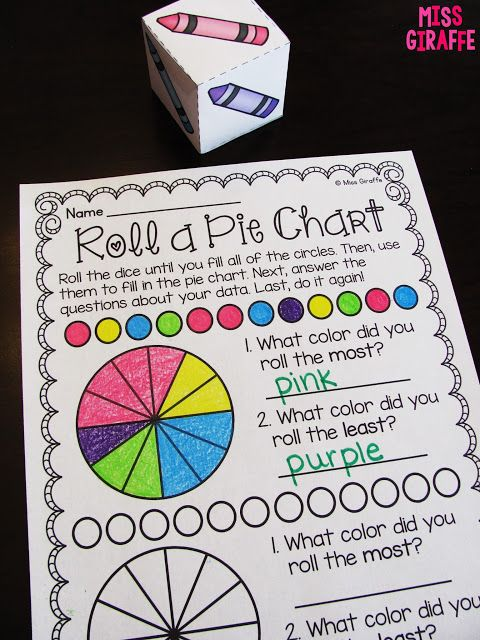 Roll a Pie Chart math center where kids roll the crayon dice and - math chart