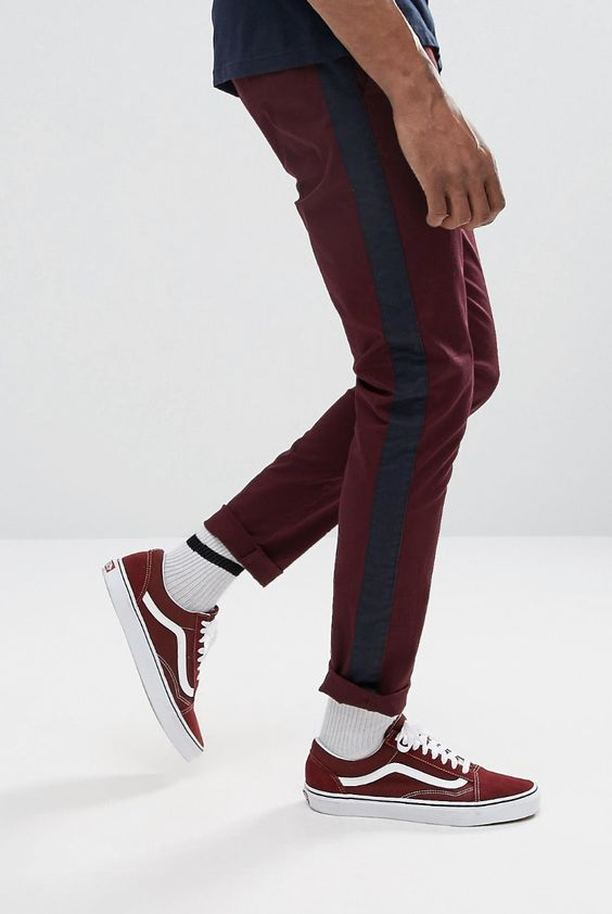 On my wish list : ASOS Skinny Trousers With Side Stripe In Burgundy from ASOS #ad #men #fashion #shopping #outfit #inspiration #style #streetstyle #fall #winter #spring #summer #clothes #accessories
