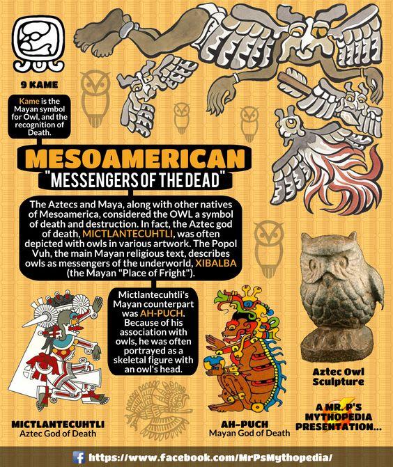 The Messengers of Death in Mesoamerican mythology; the owl! #Owls #Mesoamerica #Death #Aztec #Maya #Infographic #Mythology #MrPsMythopedia  https://www.facebook.com/MrPsMythopedia/