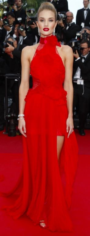 """Rosie Huntington-Whiteley attends """"The Unknown Girl wearing a stunning red ruffle gown from the Alexandre Vauthier spring 2016 collection. Cannes 2016"""
