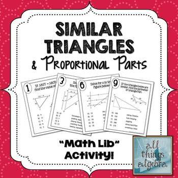 Similar Triangles and Proportional Parts Math Lib ...