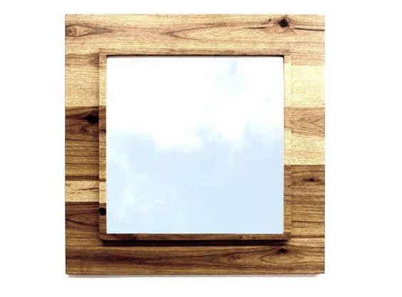 framed wall mirror 29 x 29 bath 4 ties in the wood