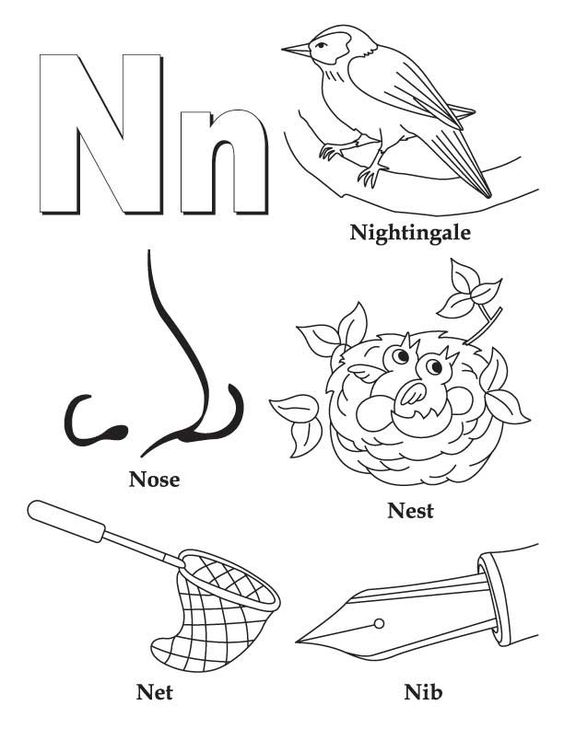 n coloring pages | My A to Z Coloring Book Letter N coloring page | Coloring ...