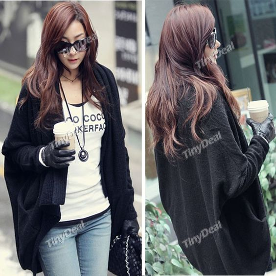 Chic Shawl Style Bat-wing Sleeve Sweater Wrap Coat Knitwear Knitting Shirt for Women Girls NWJ-107474