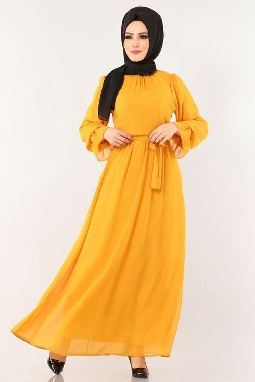 Modaselvim Elbise Kemerli Sifon Elbise 3996mb205 Hardal Hijab Fashion Fashion Dresses