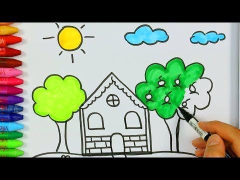 Come Colorare La Casa.Come Disegnare E Colorare Una Casa E Un Sole Come Disegnare E