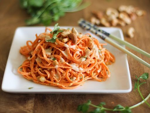 Raw Carrot Pasta with Ginger-Lime Peanut Sauce Recipe on Yummly