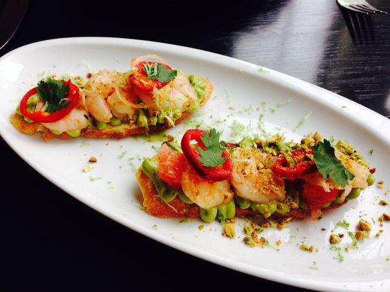 Grilled shrimp and avocado bruschetta @Gerren Fish
