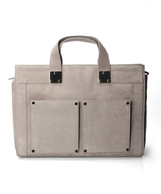 Filippa K Leather Briefcase - Mid Grey Nubuck