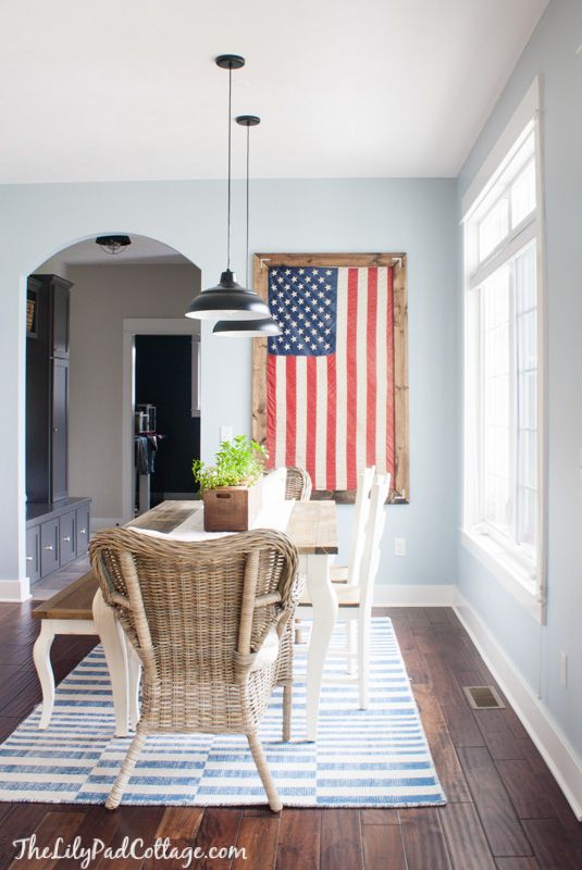 Framed Flag Decor by The Lilypad Cottage. Patriotic decor and party ideas. #patriotic #decor #ideas
