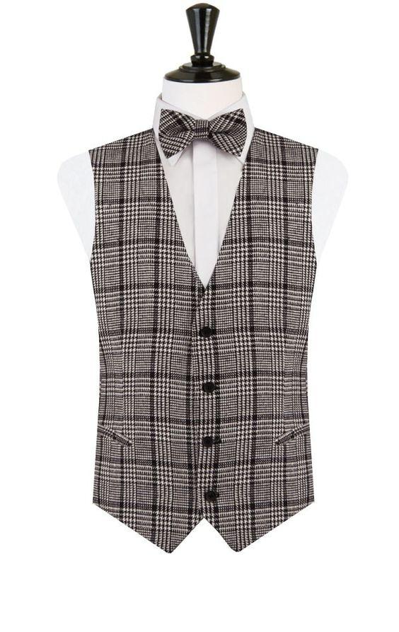Gilet Tweed Noir et Blanc Slim Encolure profonde