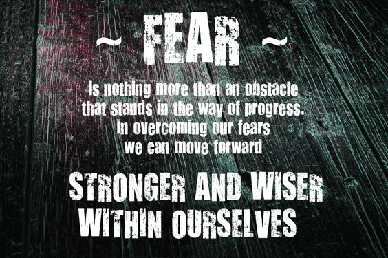 Fear is nothing more than an obstacle that stand in the way of progress. In overcome our fears we can move forward stronger and wiser within ourselves.