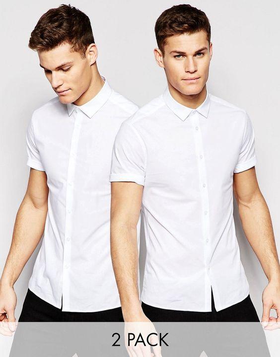 Imagen 1 de Pack de 2 camisas entalladas en blanco de ASOS, AHORRA un 15%