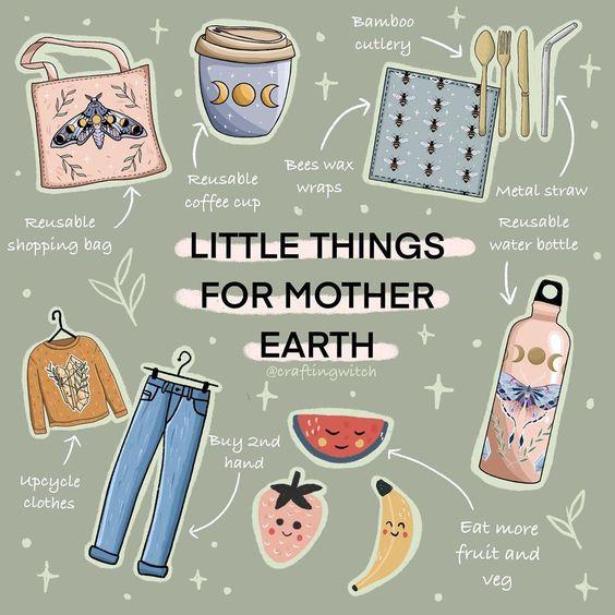 """Crafting Witch auf Instagram: """"What little sustainable habits do you practice? 🌏 🌱✨"""" #nachhaltig #nachhaltigkeit #motherearth #sustainable #achtsamkeit"""