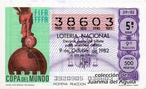 Décimo Del Sorteo Extraordinario De Lotería De La Hispanidad Celebrado El 9 De Octubre De 1982 Coleccionismo Loteria Col Lotería Nacional Lotería Sorteo